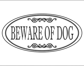 "Oval 3.75"" x 7.75"" Beware Of Dog Sign / Engraved ""BEWARE OF DOG"" Outdoor Sign / Home / Business / Fence / Front Door Sign - Free Shipping"