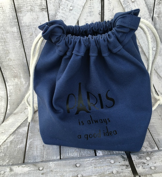 Knitting Project Bag-Navy Blue Canvas Paris Toadstool Bag,Toad Hollow Bag,Crochet Project Bag,Sock bag,xlarge yarn keeper,wedge knitting bag