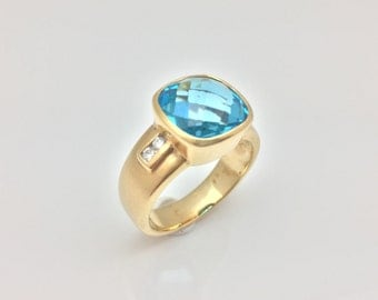 London Blue Topaz Ring with Diamond Accent Set in 18k Gold // Size 7