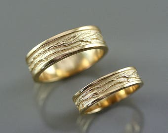 Solid gold wedding ring set,  gold Bark wedding ring, unique engagement ring, branch Texture wedding ring, handmade wedding ring, 10 k gold