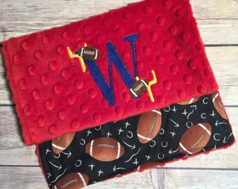 Football with name option Burp Cloth Set  Available Mix and Match  Made to Order, Monogramming Option Red Black Sport