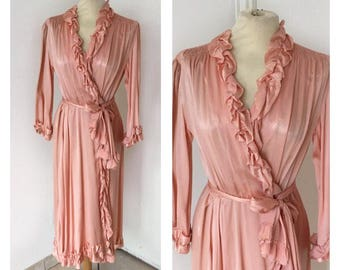 60s Silk Nightgown - Vintage Pink Nightgown with Rouches - Size M