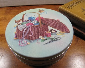 Vintage Sewing Tin - Basket With Birds and Yarn