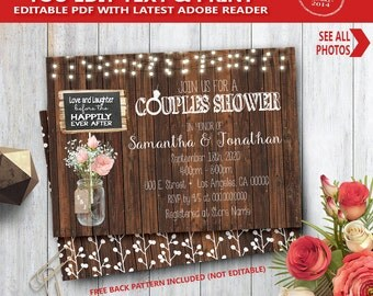 couples shower invitation wood rustic i do couples shower wedding shower invite you edit text and