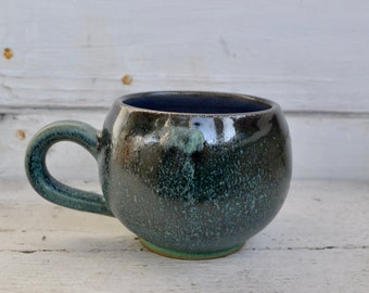 Blue and Green Feathered Mug
