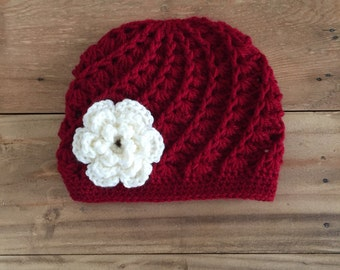 Girl Crochet Hat, Red Hat for Baby Toddler and Kids