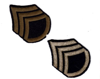 Pair of Vintage and RARE Army WWII WW2 Staff Sergeant E-6 - Khaki on Black Wool ~3 x 4 inches