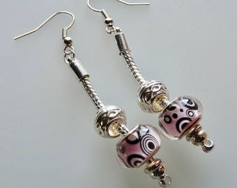 Dangle Earrings, Silver plated and European beads
