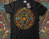 Aztec Traditional China Plate Men Black White Grey Red Royal Blue Tshirt S5XL NEW  Wellcoda d1603