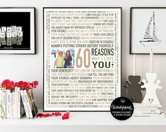 Custom 60th Birthday Gift for MOM / 60 Reasons Why We Love You / Natural Colours / Personalised Word Art / 16x20 / DIGITAL Download /