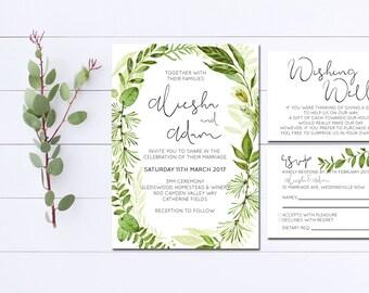 Wedding Invitation | Leafy Green | Wedding Invitation Suite | Invitation Kit