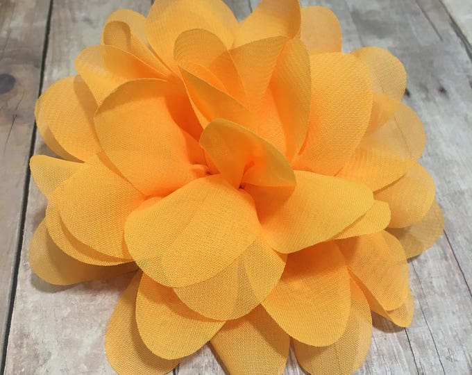 "4"" Tangerine Chiffon Flower | Flower for Dog Collar | Medium/Large Dog | CupcakePups"