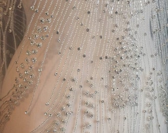 Rhinestone Fabric, Beaded Fabric, Full Length Crystal Wedding Panel