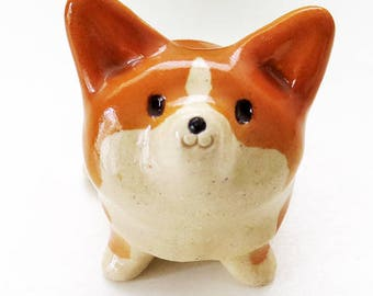 "Corgi figurine of Ceramics ""The quite small Corgi figurine with glaze""  工房しろ コーギー"