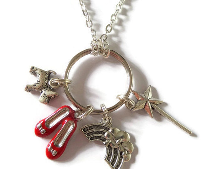 """WIZARD OF OZ inspired silver 4 charm 24"""" necklace / keyring Dorothy fan gift jewellery red shoes Uk"""
