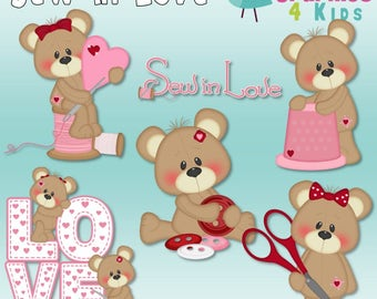 Sew in love valentine Digital Clipart - Clip art for scrapbooking, party invitations - Instant Download Clipart Commercial Use