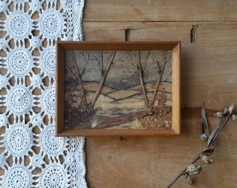 Vintage bark picture #2 /sm framed Australiana/ landscape/  really cute