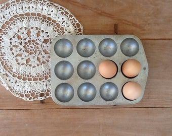 Vintage gem scone tray/  cast alloy / bakeware/ egg holder