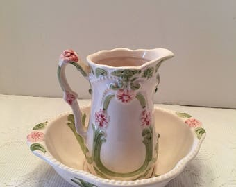 Water Bowl & Pitcher ~ Victorian Dream ~Pink Green and Cream ~ Small ~ Shabby Chic ~ Cottage Decor ~ Bowl and Pitcher Set ~ Vintage