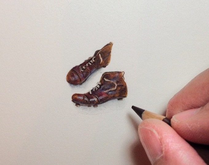 """Print of miniature painting of old Soccer Boots. 1 1/4"""" x 1 1/4"""" print of original Soccer Cleats painting on 5"""" square german etching paper"""