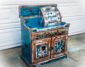 Farmhouse, Antique Dry Sink, country kitchen, storage cabinet, repurposed, distressed, shabby chic, blue, retail, sales, counter, restaurant