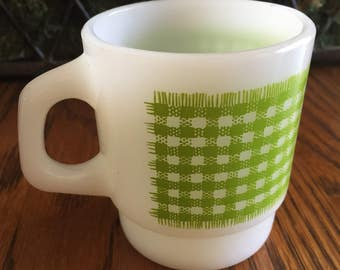 Vintage 1960's Green Plaid Fire King Milk Glass Coffee Cup- C Handled