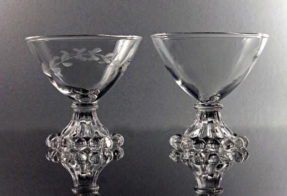 Boopie Champagne Glasses, Anchor Hocking, Tall Sherbet Glasses, Set of 2, Boopie Etched Glass, Boopie Clear Glass, Barware