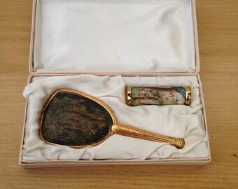 Old Pocket mirror + Support perfume brass box + box 40 year