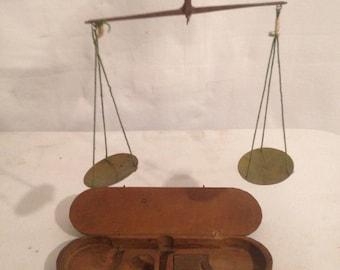 Trebuchet old Balance + weight + box wood XIXth century Rare Vintage