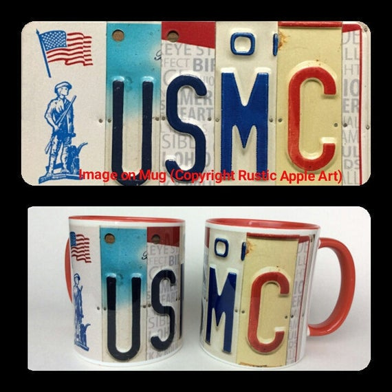 Marines Gift || USMC Mug || US Marine Corps Mug || Unique Mug || License Plate Art Image on Coffee Mug || Unique Gift