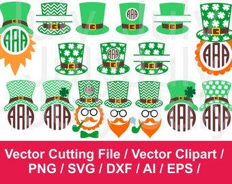 Leprechaun Hat Monogram SVG, St. Patricks Day Cut Files, Leprechaun's Hat, dxf ai eps png, St Patrick's Day SVG, Leprechaun Hat Split