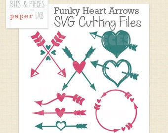 SVG Cutting Files: Funky Heart Arrows SVG, Arrow SVG, Heart svg