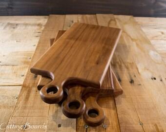 Handcrafted walnut handled cutting board, bread board, wine and cheese board, wine and cheese, serving board