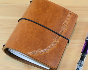 Passport Brandy Tan Barbed WireLeather Fauxdori Travelers Notebook Midori Cover Fountain pen friendly inserts