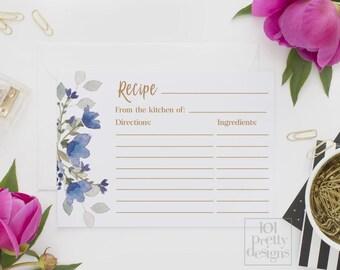 Floral recipe cards printable recipe templates gold recipe design instant download botanical recipe bridal shower printable blue flowers DIY