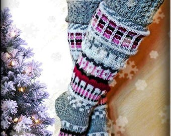 Over the Knee Socks, Knit High Socks, Leg Wormers, Handmade Wool Socks, Model: VALENTINA 2