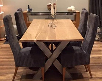 7ft Industrial X Frame Russell Oak & Steel Dining Table