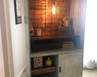 SOLD Armoire Bar Coffee Cabinet with electrical