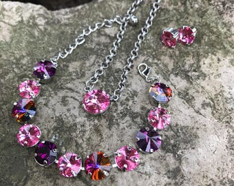 11mm swarovski set, purple/pinks