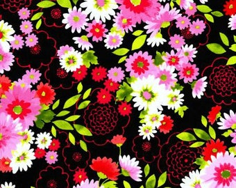 Robert Kaufman Laurel Canyon Collection Black Floral - Cotton Quilting Fabric by the Yard - FM