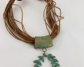 Laurel Wreath pendant with plant fiber (jute) Necklace. 100% jute.