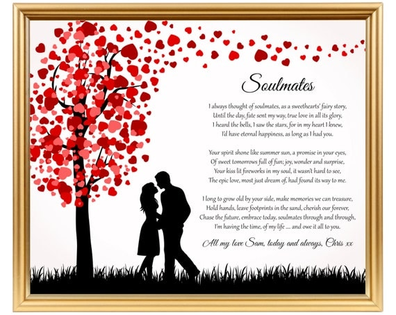 Soulmates Wedding Anniversary Poetry Gifts For Anniversary For