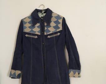 Vintage Late 1960s Chambray Jacket - Scallop Suede Detail Jacket - 1960s Denim Jacket - Denim and Leather Jacket - Western Jacket