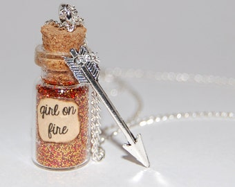 The Hunger Games Inspired Handmade Glass Bottle Necklace - Girl On Fire