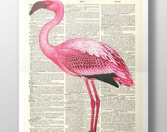 Standing Flamingo - Upcycled Vintage Dictionary Print - Surreal Flamingo Art Poster