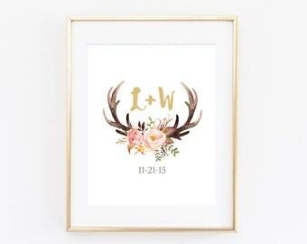 Antler Bridal Shower Decor Wall Art Printable Digital Download, Wedding Date Monogram, Boho Tribal Woodland, Deer Floral Personalized Gift