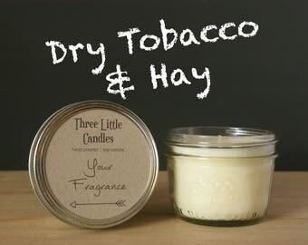 Dry Tobacco & Hay Soy Candle Mason Jar - 170g - 30 + Hour Burn Time