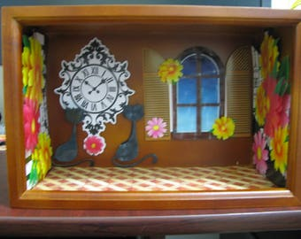 walnut wood Dollhouse miniature display roombox finished decorated  new