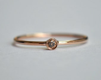 0.04 Cts Round Champagne Baby Diamond Engagement Ring. Dainty Brown Diamond Ring. 14K Rose Gold. Stackable Wedding Band. Bridal Jewelry
