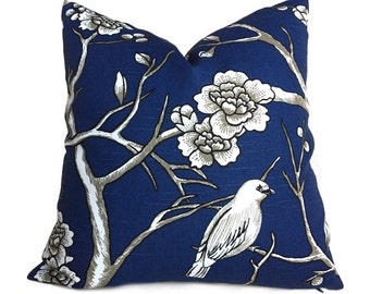 "Robert Allen Dwell Studio Vintage Blossom Navy Blue White Pillow Cover, Fits 18"" 20"" 22"" 24"" 26"""